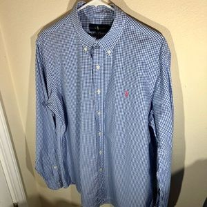 Polo by Ralph Lauren, Stretch Poplin Shirt, Mens size Large, Blue and White